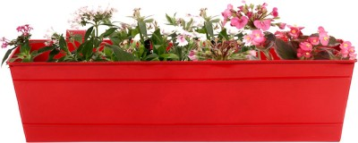 TrustBasket Red Rectangular Railing Planter - 18 inch Plant Container(Metal, External Height - 17.5 cm) at flipkart