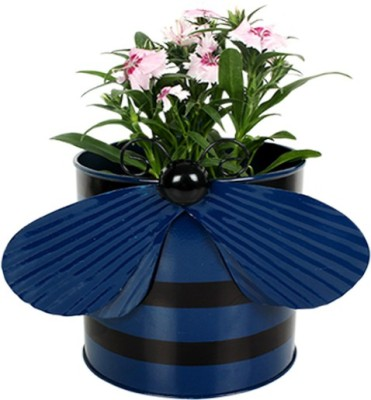 TrustBasket Bee Planter-Blue Plant Container(Metal, External Height - 15 cm) at flipkart