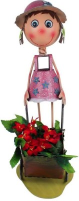 Wonderland Girl With Cart New Plant Container(Metal, External Height - 57 cm) at flipkart