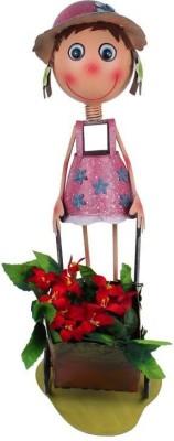 Wonderland Girl With Cart New Plant Container(Metal, External Height - 57 cm) at flipkart