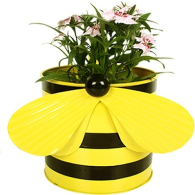 TrustBasket Bee Planter-Yellow Plant Container(Metal, External Height - 15 cm) at flipkart