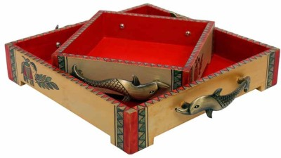 Indikala Set of Two Ethnic Wooden Trays with Fish Handles Tray Set(Pack of 2) at flipkart