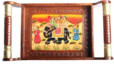 Apkamart Hand Crafted Traditional Wooden Tray - 16 Inch- For Utility and Gifts Tray at flipkart