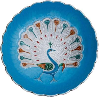 Craft Art India Aluminium Round Shape Royal Blue Fruit Bowl With Peacock Design Engraved Tray at flipkart
