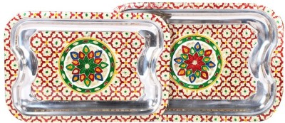 Apkamart Handcrafted Minakari Serving Tray Set of 2 - Tray(2 Units) at flipkart