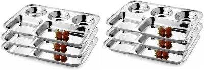 King Traders TULSI -Stainless Steel Five Compartment Dinner Plate/Mess Plate/Party Plate/Snack Plate/Gurudwara Plate-37 cm Set of 6 pcs Dinner Set(Stainless Steel) at flipkart