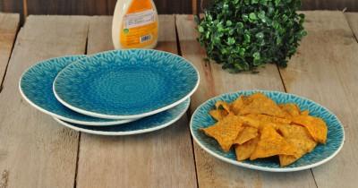 Buono Casa Eudora Embossed Snacks Plate Set of 4 -Blue Plate Set(Pack of 4) at flipkart
