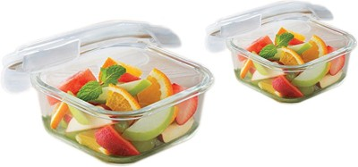 Borosil Microwavable Klip - N - Store Square Dish With Lid Dish Set(Pack of 2)  available at flipkart for Rs.629