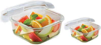 Borosil Microwavable Klip - N - Store Square Dish With Lid Dish Set(Pack of 2)  available at flipkart for Rs.735