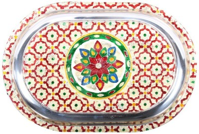Apkamart Handcrafted Oval Shaped Minakari Serving Tray - 12 Inch- Utility Article and Gift Tray at flipkart