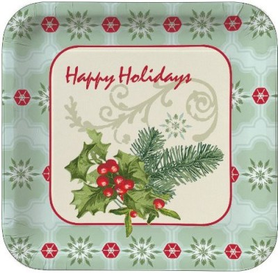 Creative Converting Christmas Holly Collage Dinner Plates Plate at flipkart