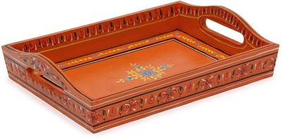 Kaushalam Small Painted: Brown Tray at flipkart
