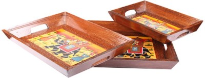 Apkamart Hand Crafted Traditional Wooden Tray - Set of 3 - For Utility and Gifts Tray Set(3 Units) at flipkart
