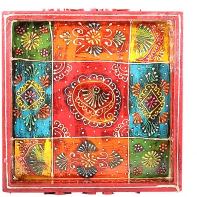 Apkamart Hand Crafted Square Shaped Multi Color Wooden Tray - 10 Inch - for Utility and Gifts Tray at flipkart