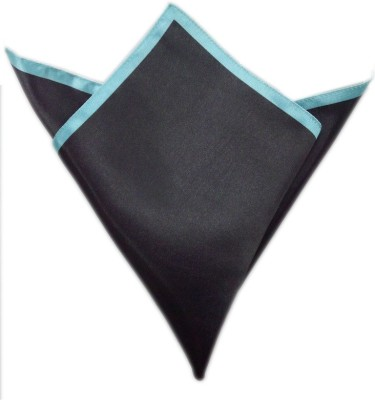 Blacksmithh Carbon Tipped Turquoise Solid Satin Pocket Square
