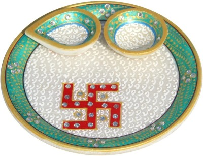 Handicrafts Paradise Swastik Painted Puja plate Marble Pooja & Thali Set(1 Pieces, Multicolor)  available at flipkart for Rs.715