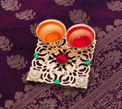 Itiha Haldi Kumkum Decorative Holder Red Gold Plated Pooja & Thali Set(1 Pieces, Gold, Multicolor)  available at flipkart for Rs.249