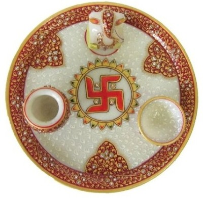 Traditional Rajasthan Hand Painted Marble Pooja & Thali Set(4 Pieces, Red)  available at flipkart for Rs.799