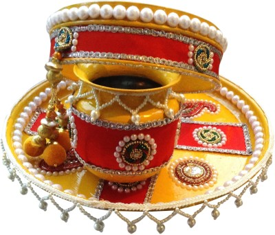 Unique Arts Yellow-Red Karwa Chauth Stainless Steel(3 Pieces, Multicolor) at flipkart