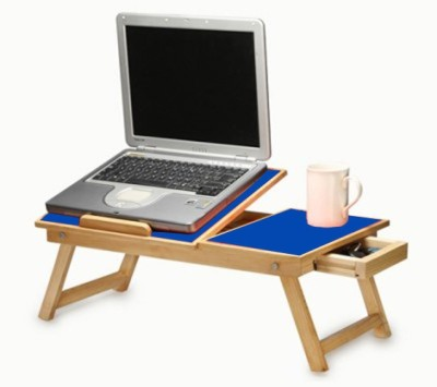 Teeta Engineered Wood Portable Laptop Table(Finish Color - Blue)