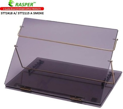 Rasper Acrylic Table Top Desk Elevator (STANDARD SIZE, 21x15 Inches) Acrylic Writing Desk Fabric Portable Laptop Table(Finish Color - Smoke Black Transparent)