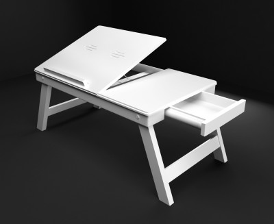 Home Sparkle Solid Wood Portable Laptop Table(Finish Color - White)