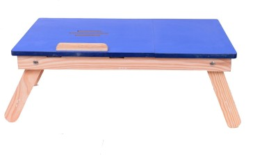 Cart4Craft Blue Matte With Drawer table Solid Wood Portable Laptop Table(Finish Color - Blue)