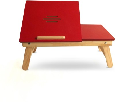 Colorwood Reveria Without Drawer Half Open Solid Wood Portable Laptop Table(Finish Color - Red)