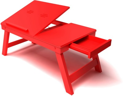 Home Sparkle Solid Wood Portable Laptop Table(Finish Color - Red)