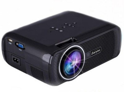 Everycom 1800 lm LED Corded Portable Projector(Black)