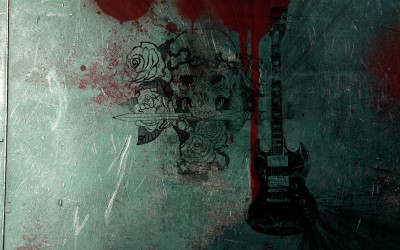 Music Guitar Rose Skull Fender Electric Blood Sword HD Wallpaper Background Fine Art Print(12 inch X 18 inch, Rolled)  available at flipkart for Rs.207