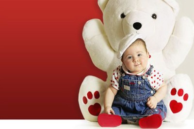 Cute Baby with Teddy Bear Poster Paper Print(12 inch X 18 inch, Rolled)  available at flipkart for Rs.139