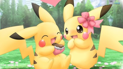 Pickachu Pokemon Couple Poster Paper Print(12 inch X 18 inch, Rolled)  available at flipkart for Rs.245
