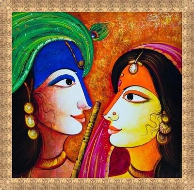 Artsnyou radha-krishna-love-painting Radha Krishna Love
