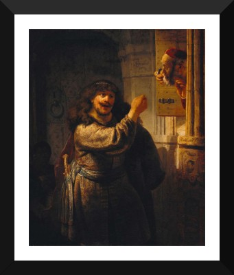 Tallenge Old Masters Collection - Samson Threatening His Father-in-Law by Rembrandt - Premium Quality A3 Size Framed Poster Paper Print(17 inch X 12 inch, Framed)