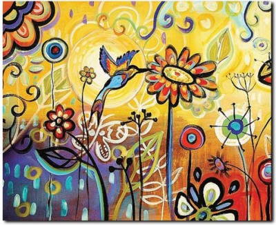 Stybuzz Yellow Flower Abstract Painting Frameless Canvas Art 22 Inch X 18 Inch