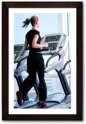 Framed Girl on treadmill Paper Print(13 inch X 19 inch, Framed)  available at flipkart for Rs.770