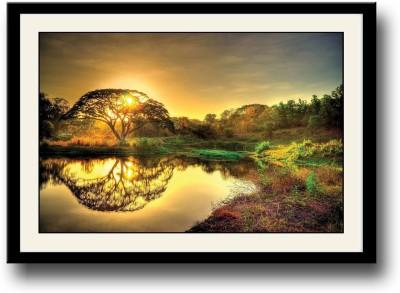 Tree shadow in water Fine Art Print(10 inch X 14 inch, Framed)
