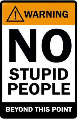 Warning No Stupid People Poster Paper Print(18 inch X 12 inch, Rolled)  available at flipkart for Rs.179
