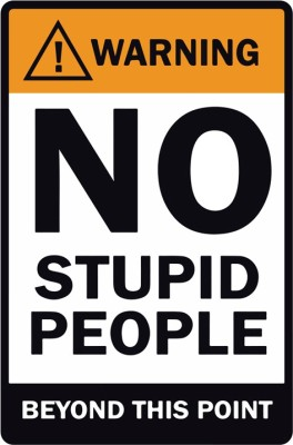 Warning 'No Stupid People' Poster Paper Print(18 inch X 12 inch, Rolled)  available at flipkart for Rs.169