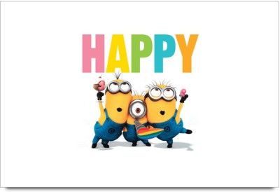 Fannzila happy Minions Laminated Poster Paper Print(12 inch X 18 inch, Framed)  available at flipkart for Rs.139