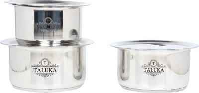 Taluka Induction Friendly Stainless Steel Tope with Lid Steel Topia 3 PCS COMBO SET Bhaguna Kitchen Combo Pot 1 L(Stainless Steel, Induction Bottom)