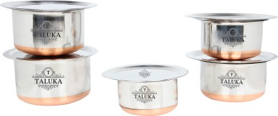 Taluka Stainless Steel Copper Bottom Topes with Lid Steel Topia 5 PCS COMBO SET Bhaguna Capacity:- 1, 1.5, 2, 3, 3.5 Liter in One set KITCHEN COMBO Pot 1 L(Stainless Steel, Copper)