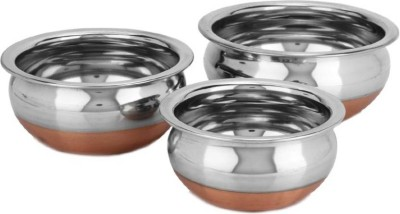 Lavi Classic Cooking Set Of 3 Copper Base Cookware Handi .5 L, .75 L, 1 L(Stainless Steel, Copper, Non-stick)  available at flipkart for Rs.449