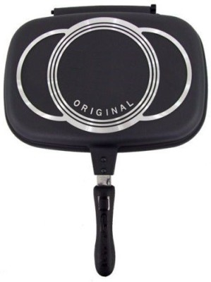 Wonder World ™ Die-cast aluminum with non-stick coating The Dessini Double Sided Pan Grill Pan 32 cm diameter with Lid(Aluminium, Non-stick, Induction Bottom) at flipkart