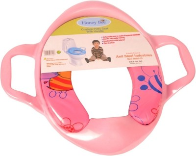 Honey bee Training Cushioned With Handle Potty Seat Pink Honey bee Potty Seats