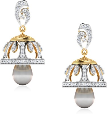 IskiUski Aprachita Yellow Gold 14kt Swarovski Crystal Jhumki Earring(Yellow Gold Plated) at flipkart