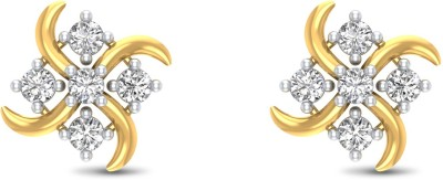 P.N.Gadgil Jewellers Square Yellow Gold 18kt Diamond Stud Earring(Yellow Gold Plated) at flipkart