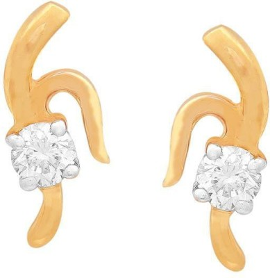 Shuddhi Designer Yellow Gold 18kt Diamond Stud Earring(Yellow Gold Plated) at flipkart