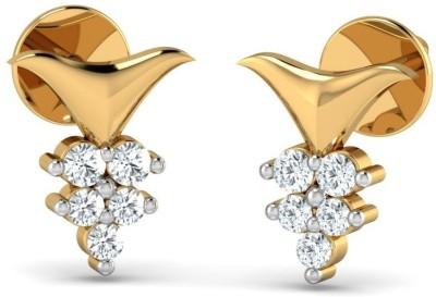 P.N.Gadgil Jewellers Simple Yellow Gold 18kt Diamond Stud Earring(Yellow Gold Plated) at flipkart